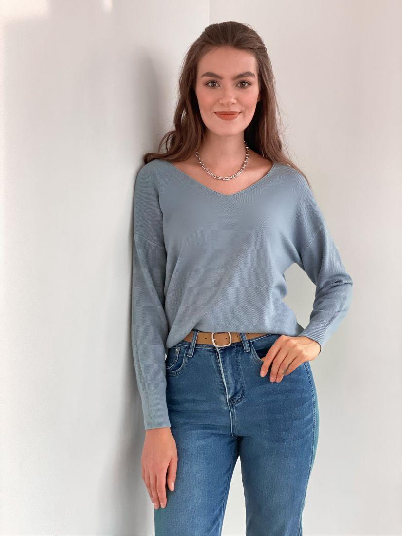 s3130 Тонкий пуловер серо-голубой