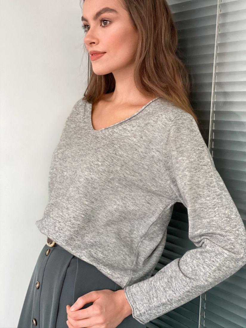 "s3137 Тонкий пуловер в цвете ""серый меланж"""
