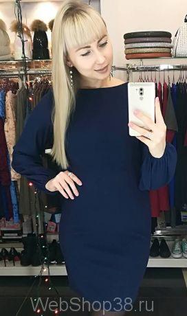 Темно-синее платье по фигуре с рукавами из плотного шифона