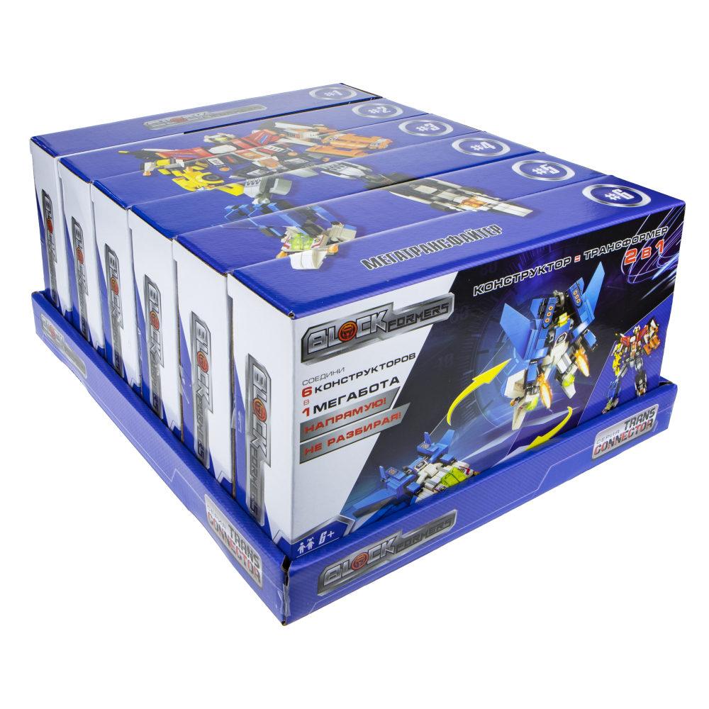 """1TOY Blockformers Transconnector конструктор """"Мегатрансфайтер"""" 6 шт. в д/б, коробка"""