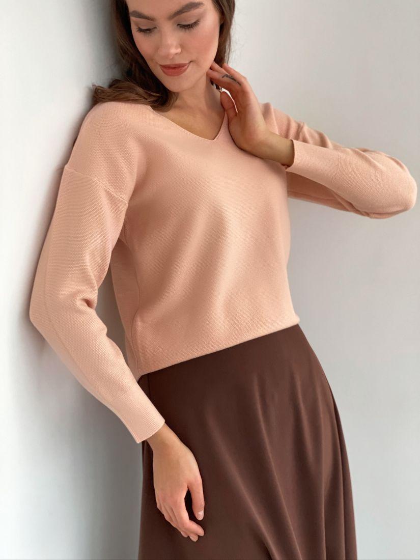 s3148 Тонкий пуловер пудровый