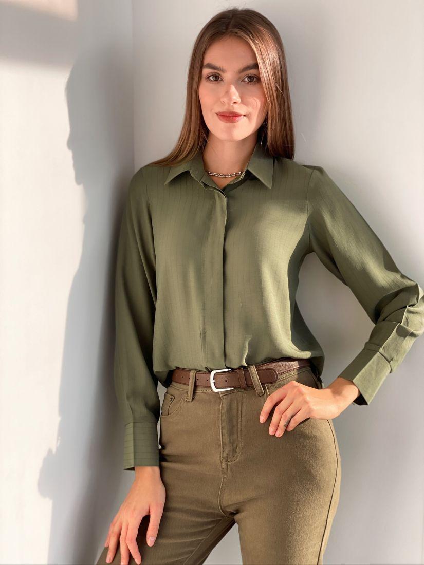 s1669 Блуза в полосочку (хаки)