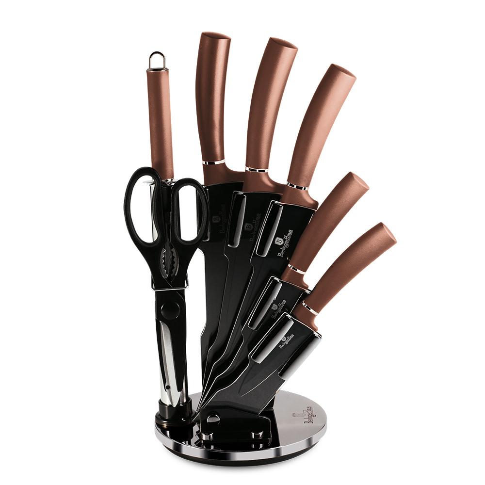 BH-2561 Rosegold  Line Набор ножей на подставке 8 пр.