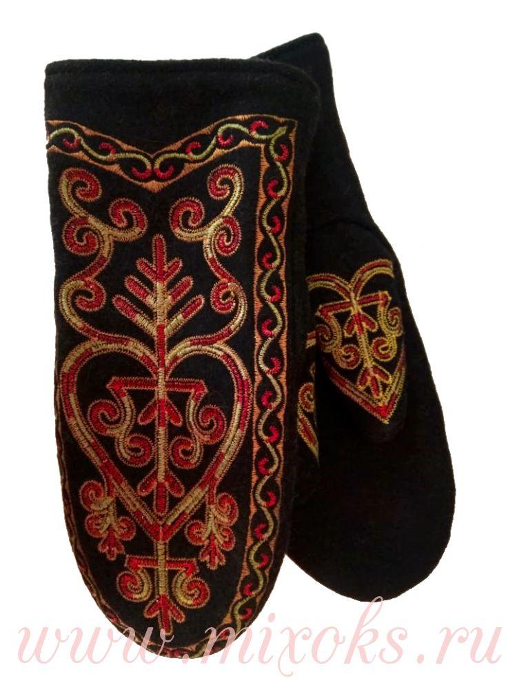Варежки из сукна с вышивкой