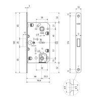 Замок AGB Mediana Polaris WC Black (B06102.50) + ответная планка. схема