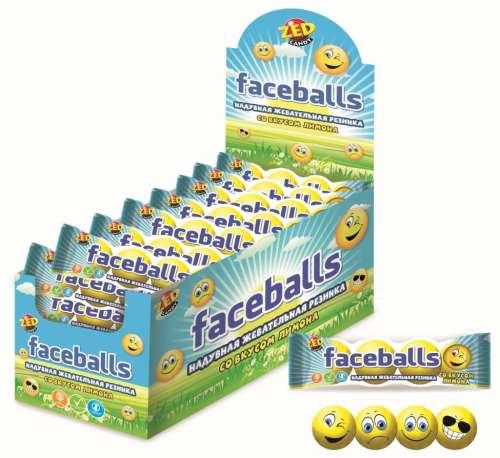 ZED Faceballs жевательная резинка с принтом