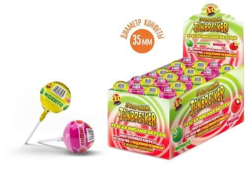ЗУБОДРОБИЛКА Ураган кислых вкусов многослойная конфета на палочке с надувной резинкой и жидким центром