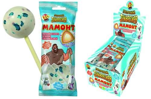 ЗУБОДРОБИЛКА Мамонт многослойная конфета на палочке с надувной резинкой и тату