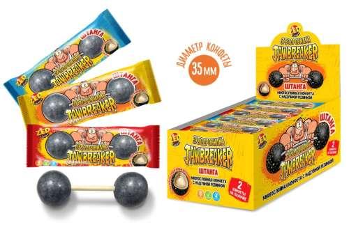 ЗУБОДРОБИЛКА Штанга 2 многослойные конфеты на палочке с надувной резинкой