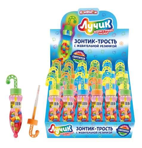 ЛУЧИК Зонтик-трость со светящейся палочкой и жевательной резинкой