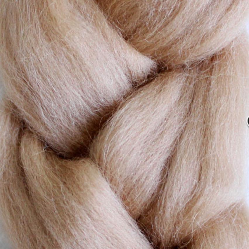 Пряжа шерсть для валяния кукольных волос- Бежевый