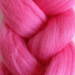 Пряжа шерсть для валяния кукольных волос - Ярко розовый