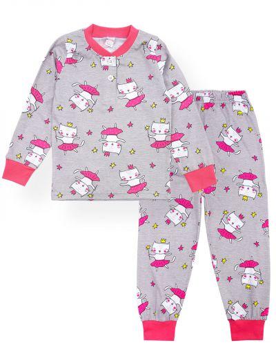 """Пижама для девочек 2-6 лет Bonito """"Кошечка"""" серый"""