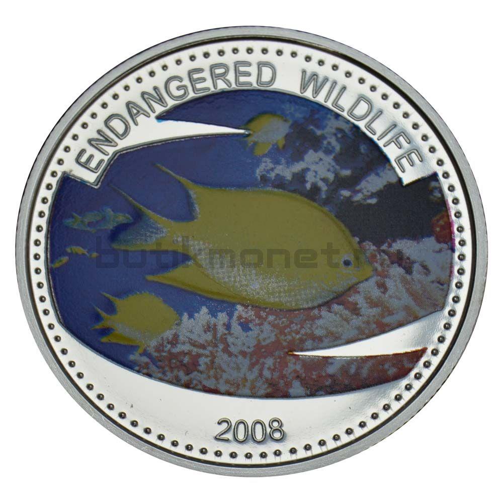 1 доллар 2008 Палау Амблиглифидодон лимонный (Вымирающие виды)