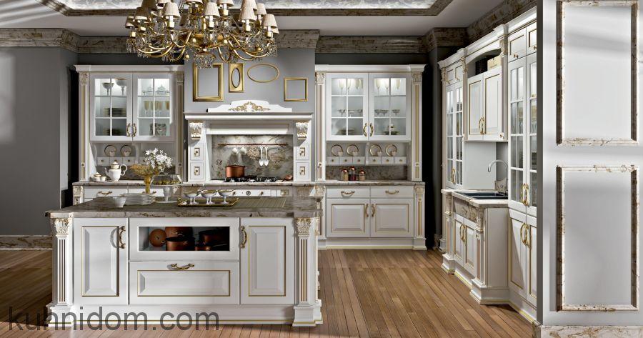 Кухня Olimp (Олимп) белая с островом