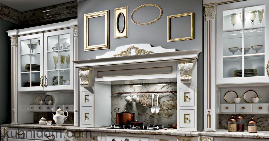 Кухня Olimp (Олимп) белая с порталом