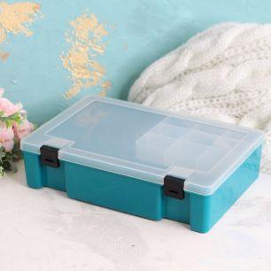 Контейнер-органайзер для швейных принадлежностей Бирюзовый 21х11х6.5 см