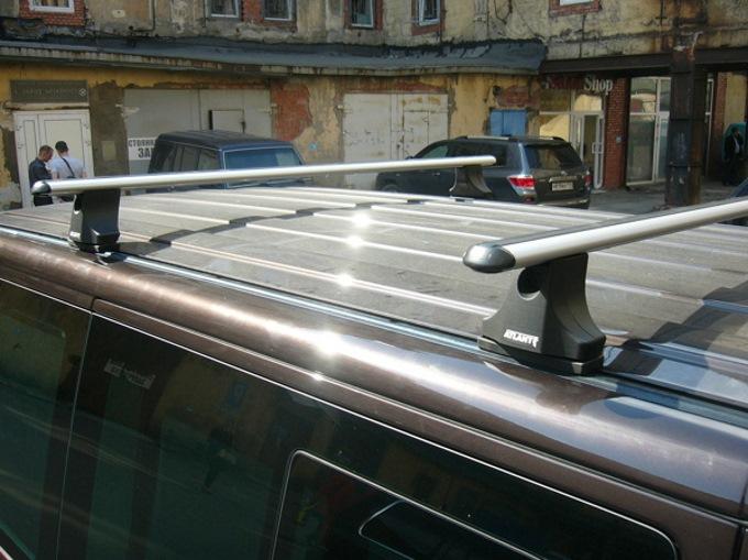 Багажник на крышу Volkswagen Transporter T5 (2003-16), c Т-рельсом, Атлант, аэродинамические дуги