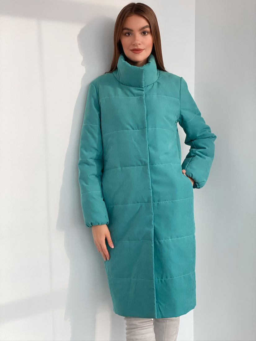 s3163 Пальто утепленное стеганое premium в цвете tiffany