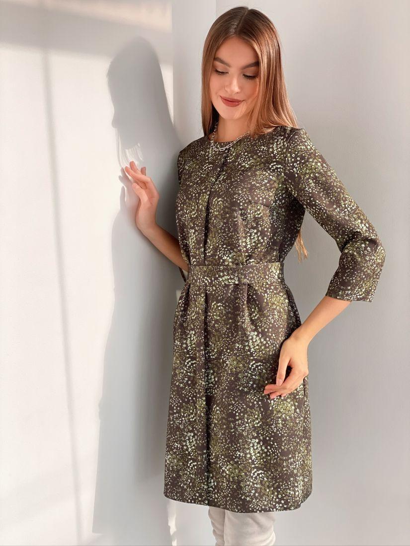 3171 Платье с планкой зелёное с принтом