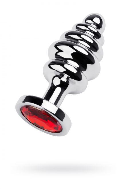 Анальный страз Metal by TOYFA, металл, серебристый, с кристаллом цвета рубин, 8 см, Ø 3,5 см, 95 г