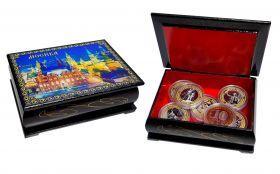 ПОДАРОЧНЫЙ НАБОР 12шт 10 рублей, МОСКВА с гравировкой и цветной эмалью в шкатулке