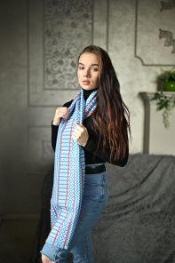 """шотландский теплый плотный большой шарф  100% шерсть мериноса, """"Артизан Синий"""" ARTISAN SCARF BLUE, плотность 5"""
