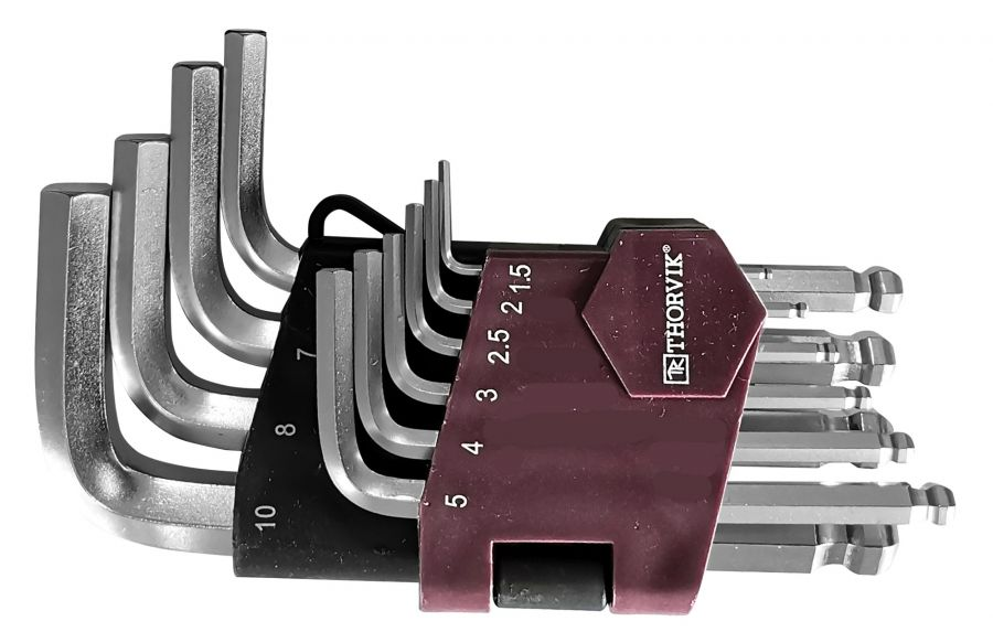 HKSB10S Набор ключей торцевых шестигранных коротких с шаром, H1.5-H10, 10 предметов