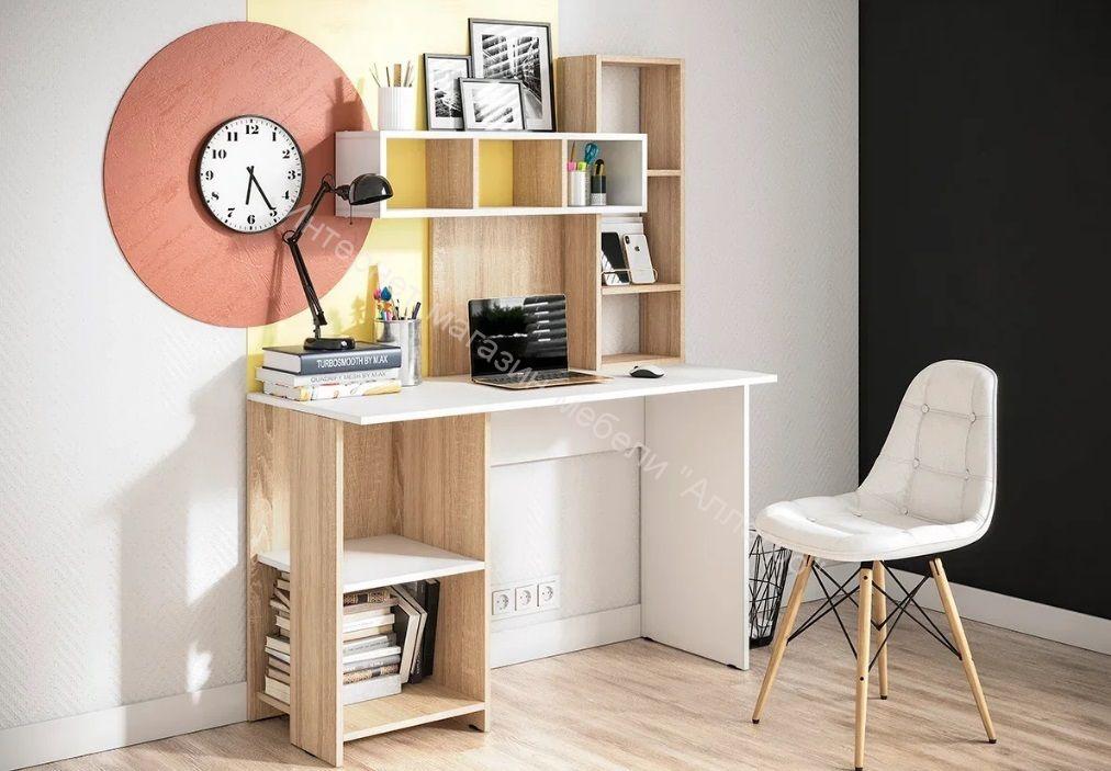 "Компьютерный стол ""Олимп"" Белый/Дуб сонома"