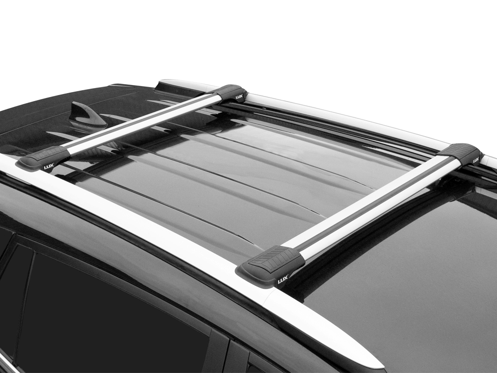 Багажник на рейлинги Toyota Land Cruiser Prado 120, 2002-09, Lux Hunter, серебристый, крыловидные аэродуги