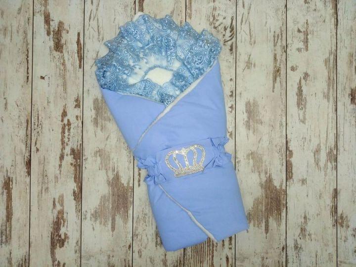 МАМИН МАЛЫШ - Комплект на выписку голубой с мехом, корона 5-KM004-ME / 02173-6