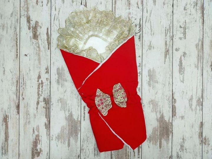 Комплект на выписку 5 предметов, барби с мехом, цвет красный 02173-8