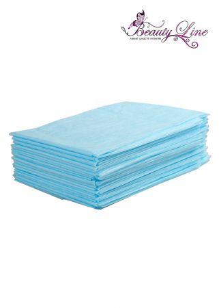 Простыни одноразовые - 70/200, плотность - 20; --- 20 штук, голубые