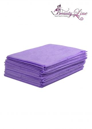 Простыни одноразовые - 70/200, плотность - 20; --- 20 штук, фиолетовые