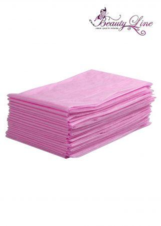 Простыни одноразовые - 70/200, плотность - 17; --- 20 штук, розовые