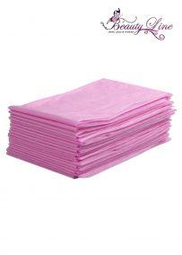 Простыни одноразовые - 70/200, плотность - 20; --- 20 штук, розовые