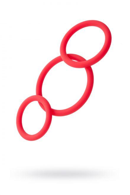Набор эрекционных колец Black & Red TOYFA, силикон, красный, Ø6/5/4 см