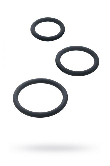 Набор эрекционных колец Black & Red by TOYFA, силикон, чёрный, Ø5/4/3,2 см