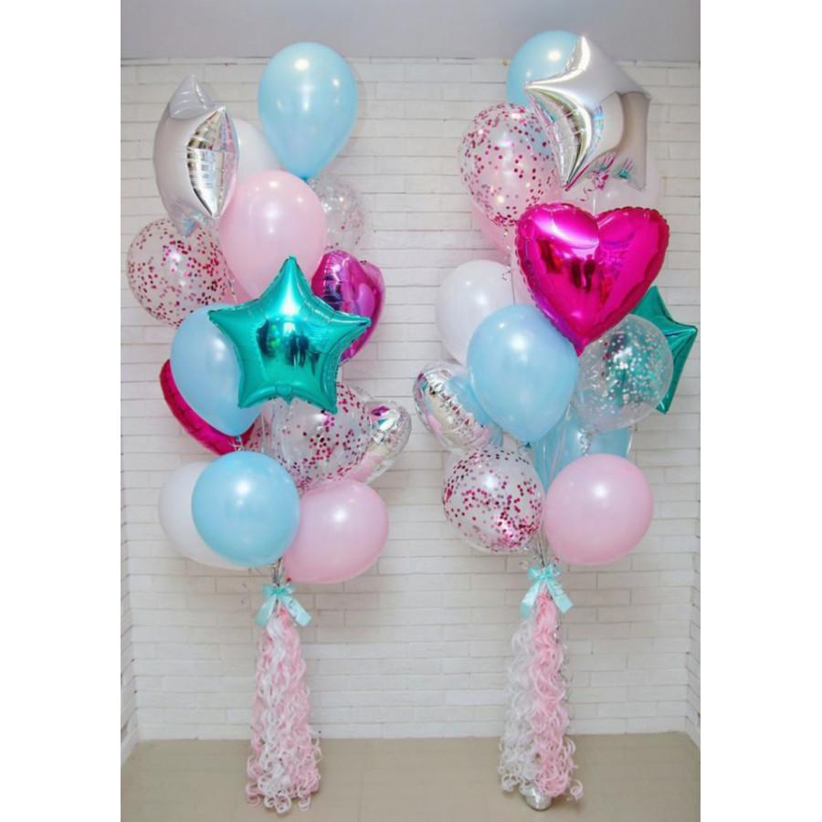 Фонтаны из шаров в нежных оттенках с конфетти