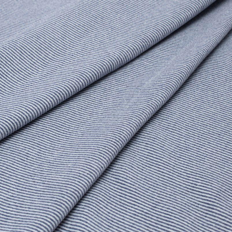Лоскут трикотажной ткани - Фланель синяя в полоску 50х38