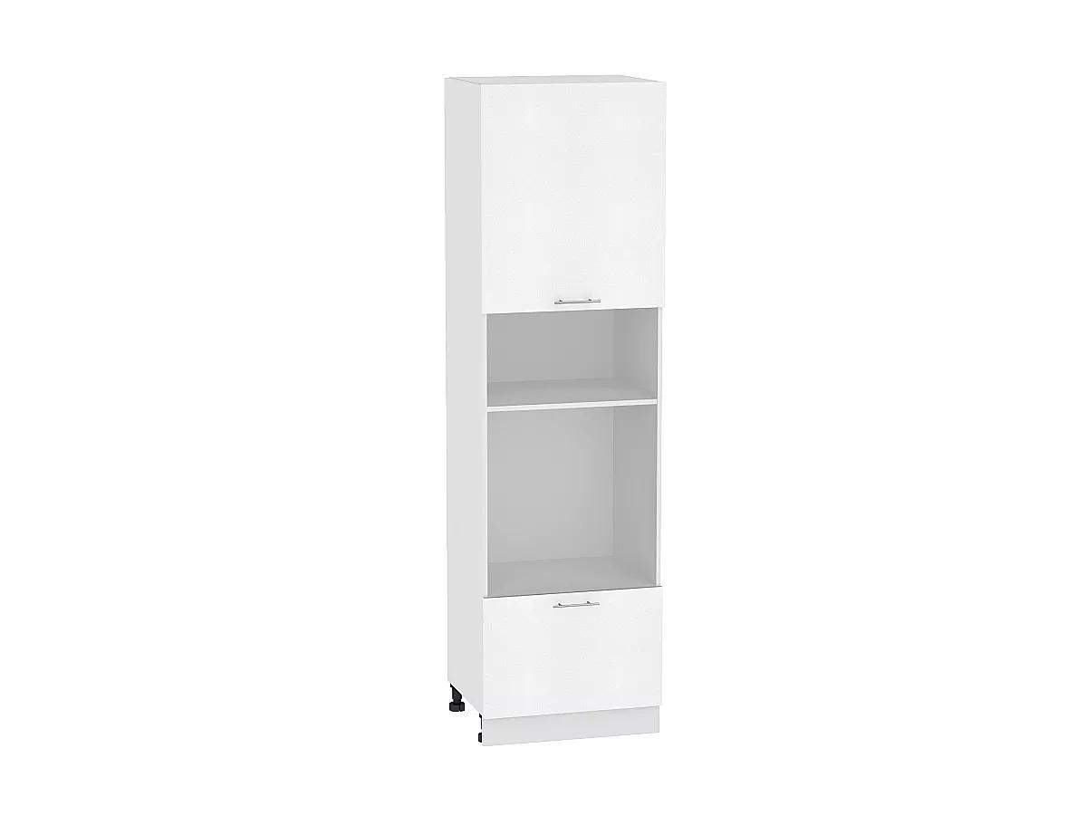 Шкаф пенал под бытовую технику Валерия ШП606Н (белый металлик)