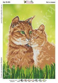 Фея Вышивки В-494 Кот и Кошка схема для вышивки бисером купить оптом в магазине Золотая Игла