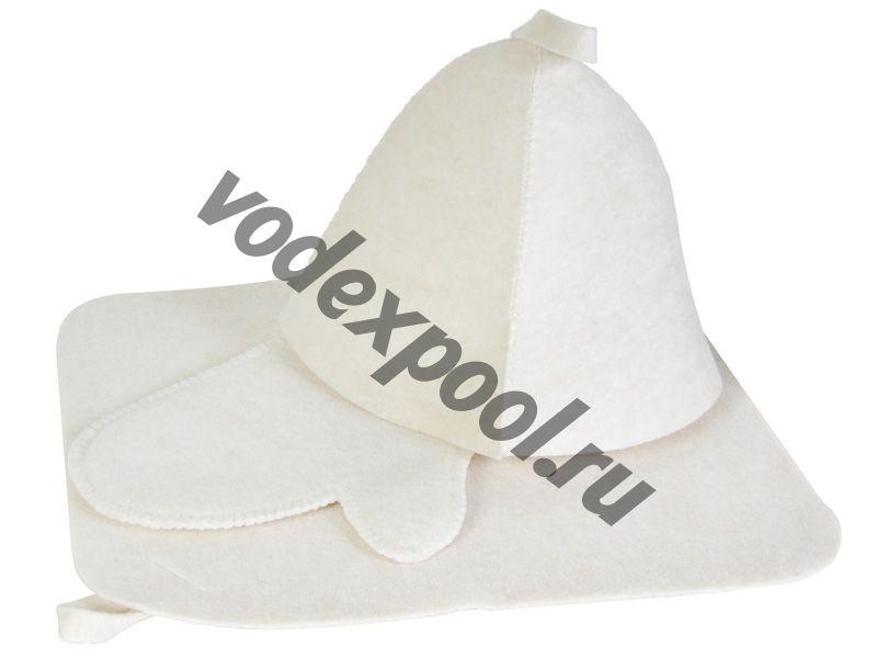 Набор для бани  2 предмета ЭКОНОМ (белый цвет)