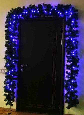 Хвойная гирлянда зелёная, со светодиодными шариками синего цвета