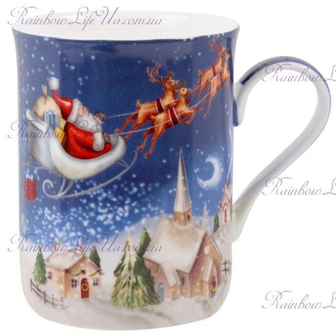 """Чашка новогодняя 350 мл """"Санта на оленях"""""""