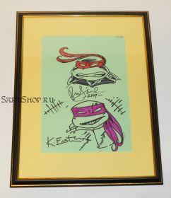 Автографы: Питер Лэрд, Кевин Истмен, с оригинальными рисунками. Черепашки-ниндзя. Редкость