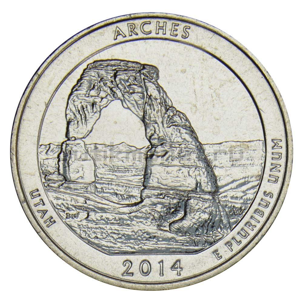 25 центов 2014 США Национальный парк Арки S