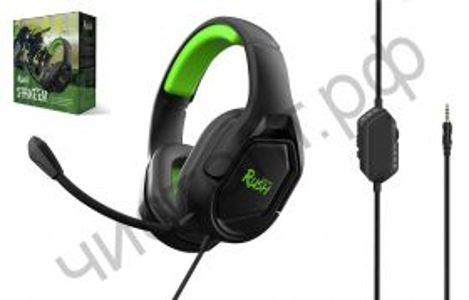 Гарнитура (науш.+микр.) Smartbuy RUSH STRIKE'EM, 50мм, съемный мик, 3,5мм + адаптер 2*3,5мм, черн/зелен (SBHG-9720)