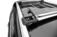 Багажник на рейлинги Toyota Highlander 2007-14, Lux Hunter, серебристый, крыловидные аэродуги