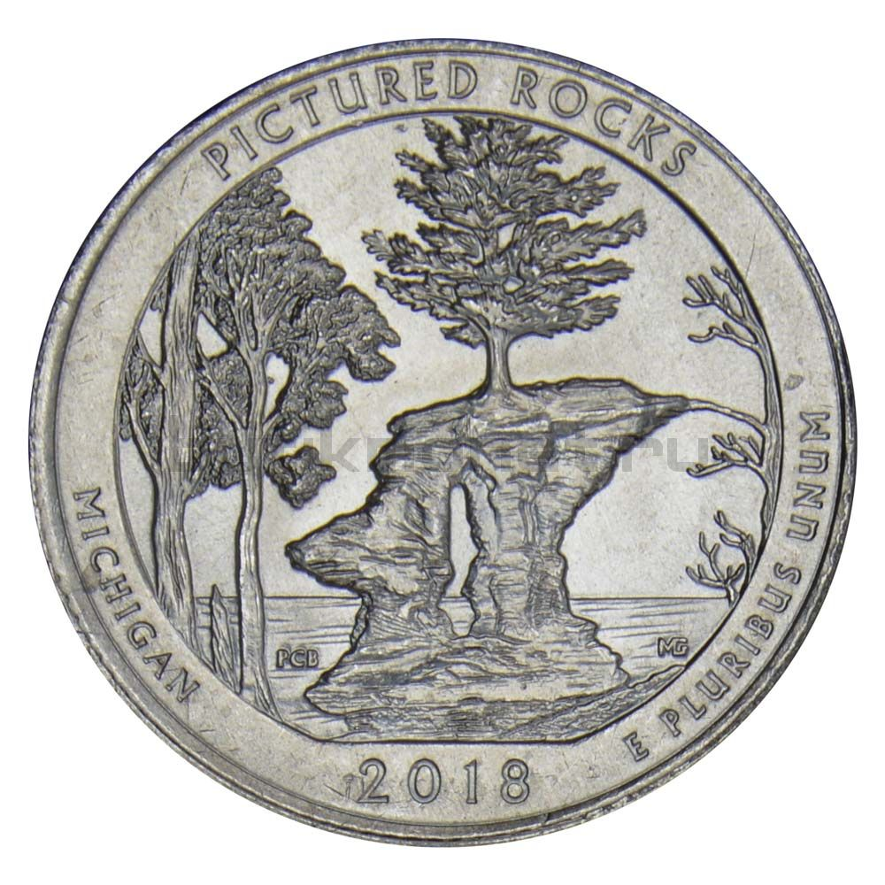 25 центов 2018 США Национальные озёрные побережья живописных камней P